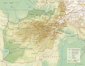 Physical map of Afghanistan, administrative di...