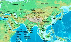 The Sassanid Empire in 500. Map also shows bor...