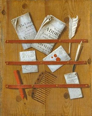 painting 'Newspapers, Letters and Writing Impl...