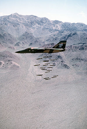 A left side view of an F-111A dropping 24 Mark...