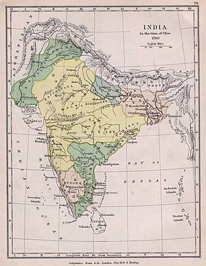 The Indian subcontinent in 1760.