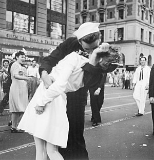 """New York City celebrating the surrender ..."
