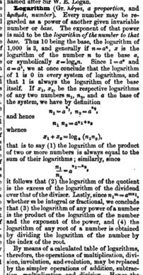 Logarithm article lead from 1866 Dictionay