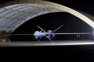 English: An armed MQ-9 Reaper unmanned aircraf...