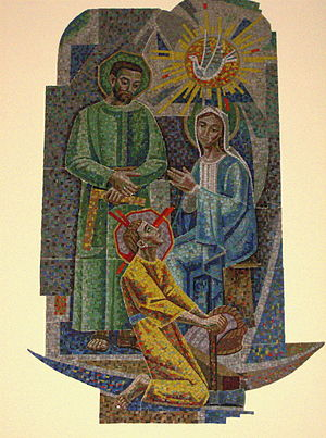 English: Tile Mosaic of Jesus, Mary and Joseph...