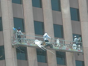 English: Window Cleaners on Wedge Internationa...