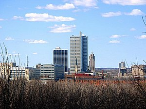 View of the downtown Fort Wayne skyline, looki...