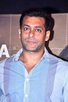 A photograph of Salman Khan, looking away from the camera.