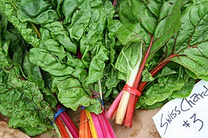 English: Swiss chard (Beta vulgaris) with vari...