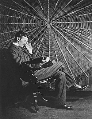 English: Nikola Tesla, with Rudjer Boscovich's...