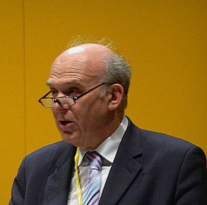 Vince Cable MP addressing a Liberal Democrat c...
