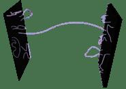 Una D2-brana e una D3-brana collegate da una stringa.