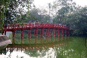 Photograph of Huc Bridge at Hoan Kiem Lake in ...