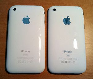 The back of the iPhone 3G (left) and iPhone 3G...