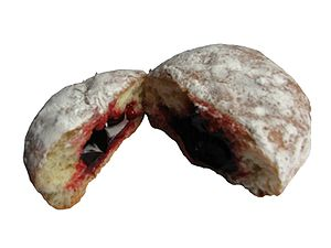 A photo of a jelly doughnut (aka Berliner) top...