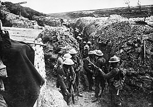 1st Lancashire Fusiliers in a communication tr...