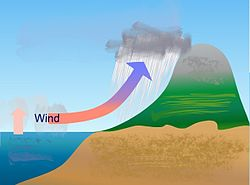Diagram memperlihatkan bagaimana udara lembap di samudra naik dan bergerak ke daratan, menyebabkan pembekuan dan hujan turun ketika awan melintasi untaian pegunungan.