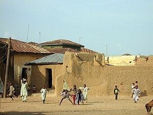 English: Kids playing in the streets of Zaria,...