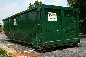 English: A green Waste Management rolloff rubb...
