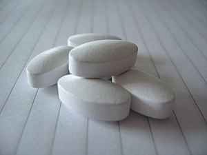 Calcium dietary supplement tablets.