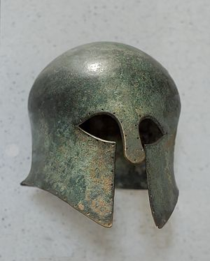 Corinthian helmet. Bronze, first quarter of th...