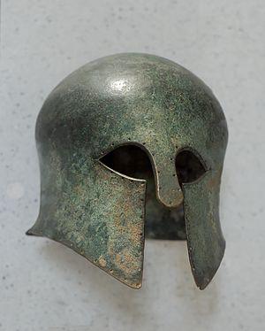 Corinthian helmet. Bronze, first quarter of th...