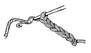 Line art example of a crochet hook with chain.