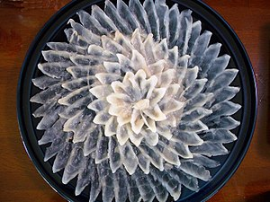 Fugu sashimi : Tessa is sashimi of thin sliced...