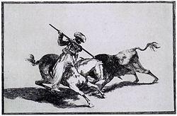 El moro Gazul lanceando un toro, según grabado de Goya