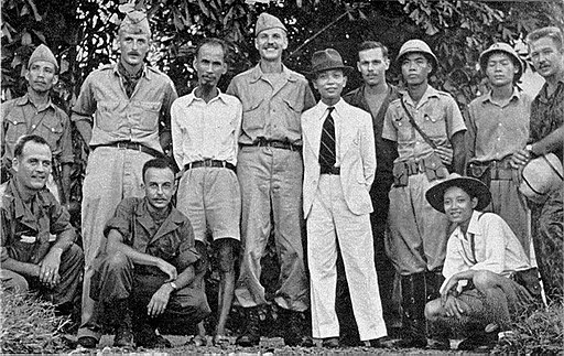 Ho Chi Minh (third from left standing) and the OSS in 1945
