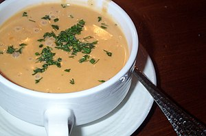 A bowl of lobster bisque