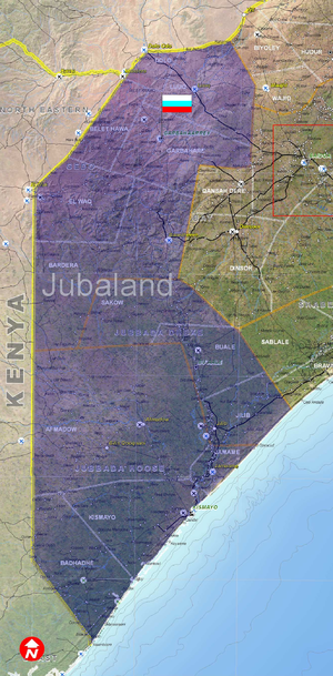 English: Jubaland map, is a detailed map of Ju...