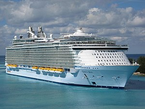 Oasis of the Seas entering the port at Nassau,...