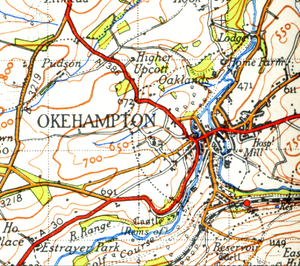 Map of Okehampton from 1946. Scale 1 inch to t...
