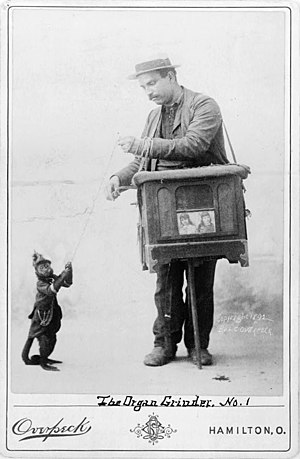 Man with street organ and monkey on chain.