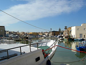 Fishing boats along the Mazaro river, Mazara d...