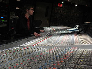English: The SSL9000J console in use during a ...