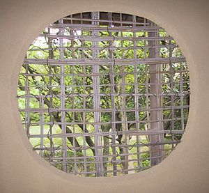 Woven bamboo window in Japan