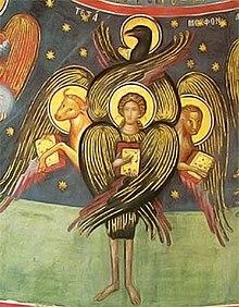 Fresque tétramorphe dans l'un des monastères des Météores en Thessalie.