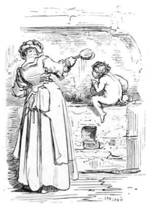 A woman aided by a house kobold.