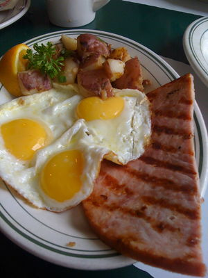 English: Fried eggs and ham. Español: Huevos f...