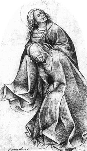 Hieronymus Bosch - Mary and John at the Foot o...