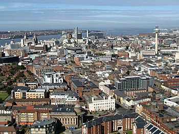 English: A view of Liverpool city centre viewe...