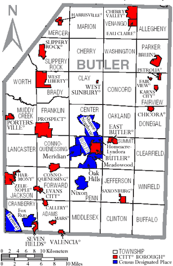 Map of Butler County, Pennsylvania with Munici...
