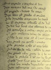 Reproducción de una página del manuscrito Cantar de M�o Cid conservado en la Biblioteca Nacional de España