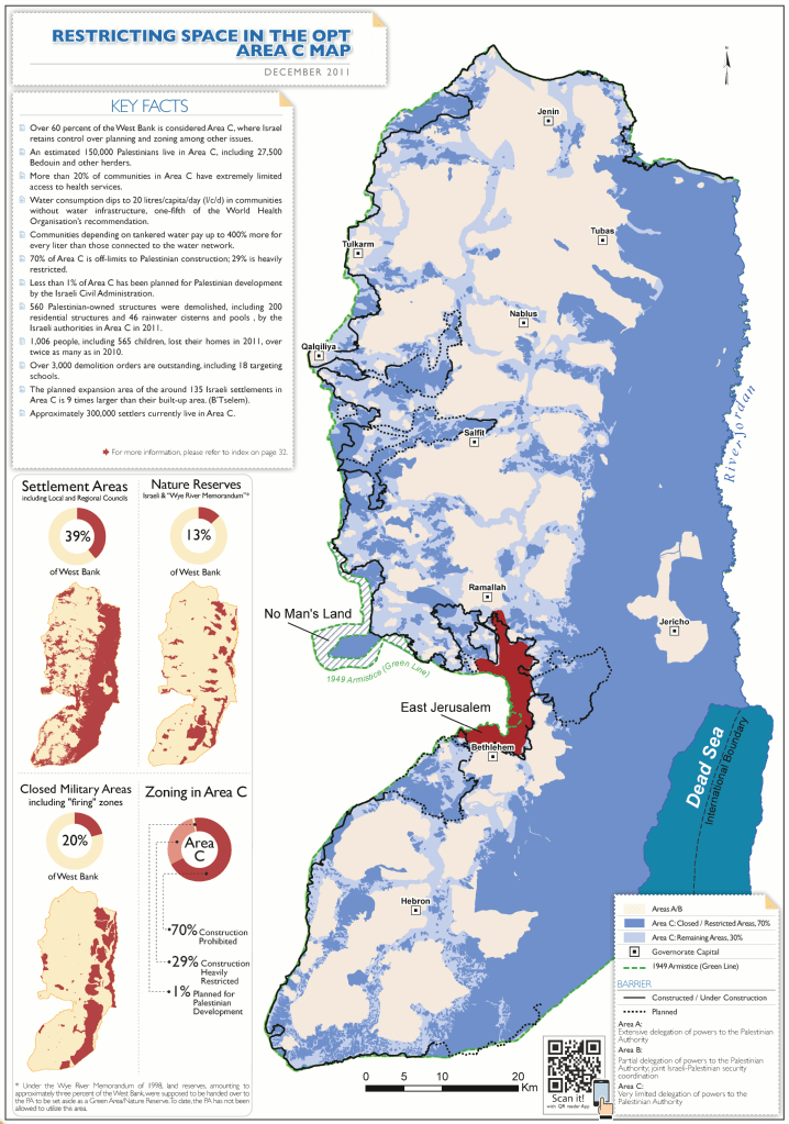 """Map of Judea and Samaria showing Areas A, B, and C. Here we can see how Israeli controlled land twists itself around PA controlled land, making """"divorce"""" improbable"""