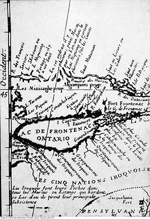 English: Map of Lac de Frontenac (Lake Ontario...