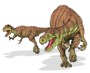 Reconstruction of a Afrovenator abakensis. It ...