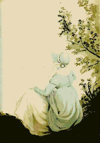 English: Back View of Jane Austen, Watercolor
