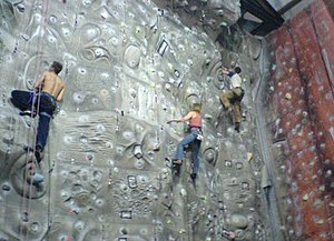 An indoor climbing wall in the UK showing moul...